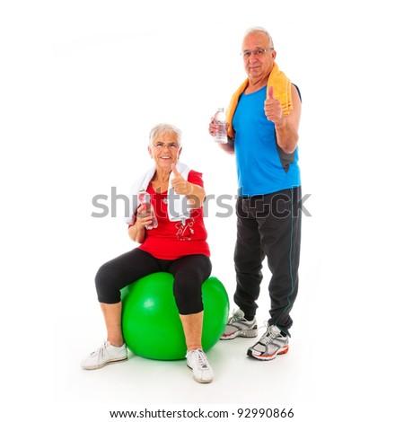 Senior healthy fitness couple - stock photo