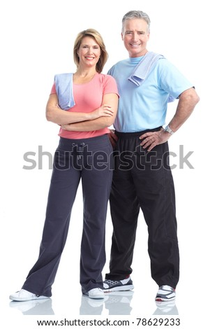 Senior healthy fitness couple. Over white background