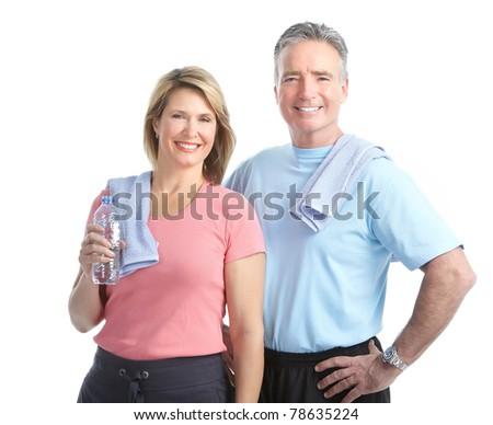 Senior healthy fitness couple. Over white background - stock photo