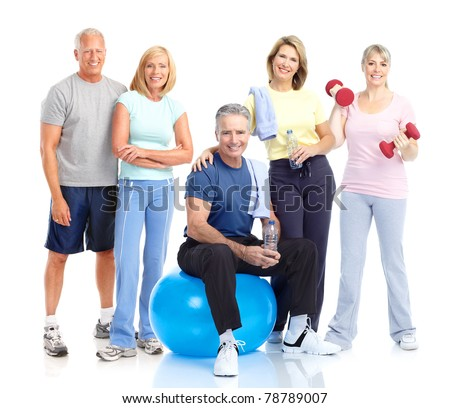 Senior healthy fitness people. Over white background