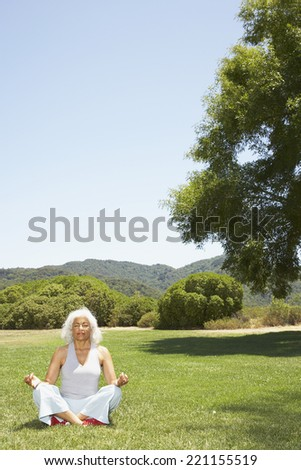 Senior Hispanic woman meditating in park - stock photo