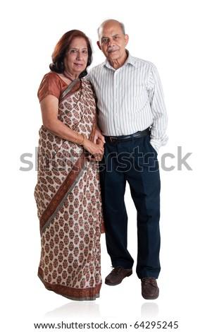 Senior Indian couple - isolated on white - stock photo