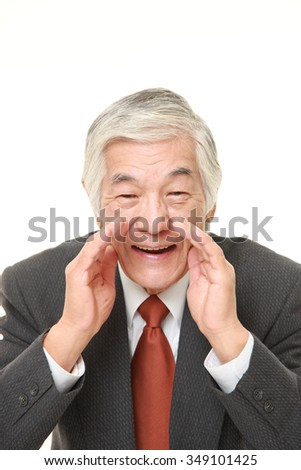 senior Japanese businessman shout something