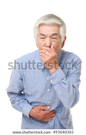 senior Japanese man feels like vomiting
