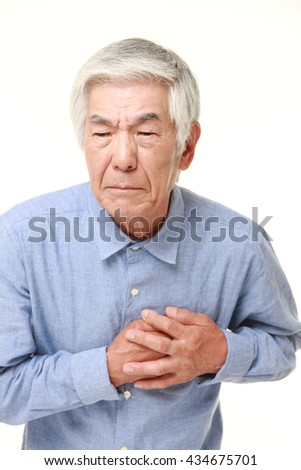 senior Japanese man in a blue shirts heart attack