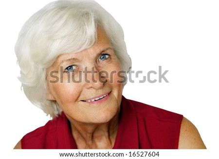 Senior lady portrait,isolated on white, with clipping path - stock photo