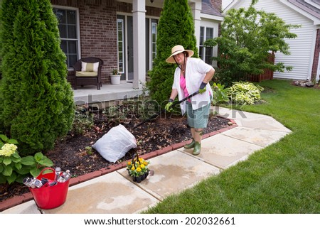 Senior lady preparing the garden for planting of flowers and the installation of garden lights along the path raking and cleaning the flowerbed - stock photo