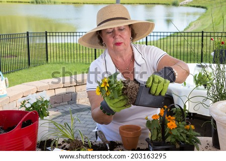 Senior lady removing a root bound pot from a pot in order to transplant it as she works at a counter on her outdoor patio in a rural setting with a lake - stock photo