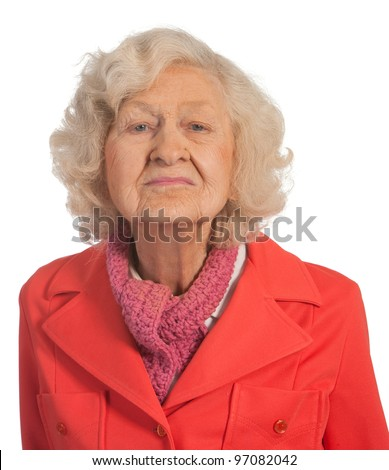 Senior lady. Shot against White background. - stock photo