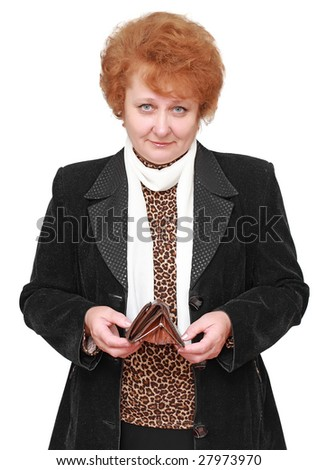 Senior lady standing with empty wallet. Isolated - stock photo