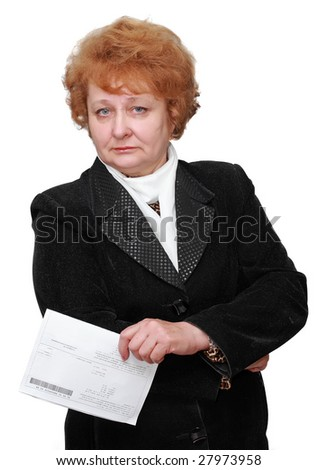 Senior lady standing with flat rent bill.Isolated. - stock photo