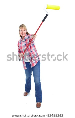 Senior lady with painting tools. Over white background. - stock photo