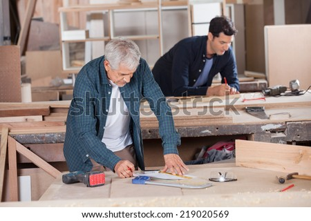Senior male carpenter drawing diagram on blueprint with colleague in