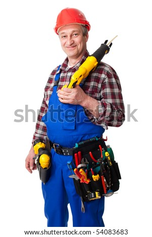 senior male construction worker isolated on white background - stock photo