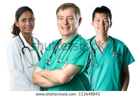 Senior male doctor standing with a colleague. Isolated on white background. - stock photo