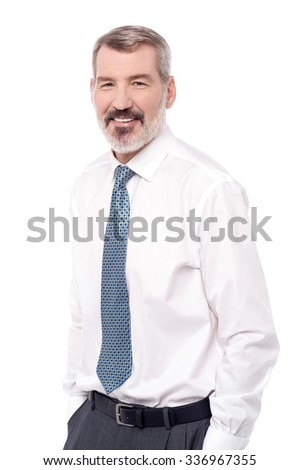 Senior male employee isolated on white - stock photo