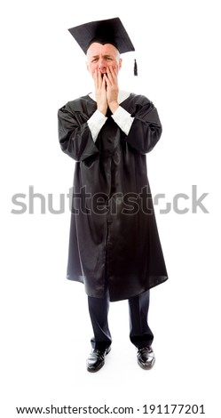 Senior male graduate disappointed - stock photo