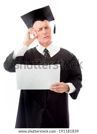 Senior male graduate holding blank sheets of paper and thinking - stock photo