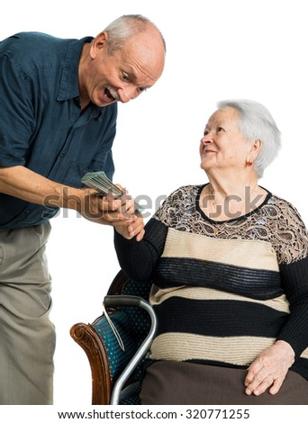 Senior man and old woman with money over white background