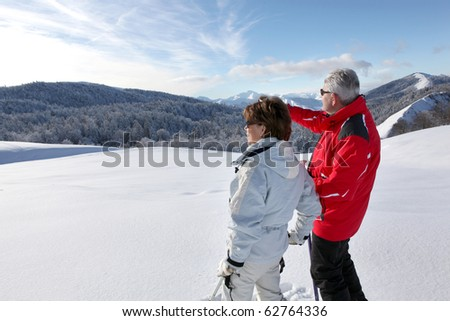 Senior man and woman looking away in snowy landscape