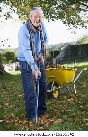 Senior man collecting autumn leaves - stock photo
