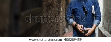 Senior Man Commuter Trip Walking Street Traveling Concept - stock photo