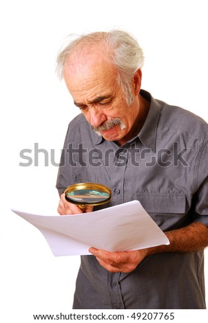 Senior man concerned at what hes reading isolated on white
