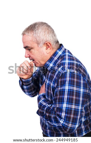 Senior man coughing and accusing chest pain isolated on white background - stock photo