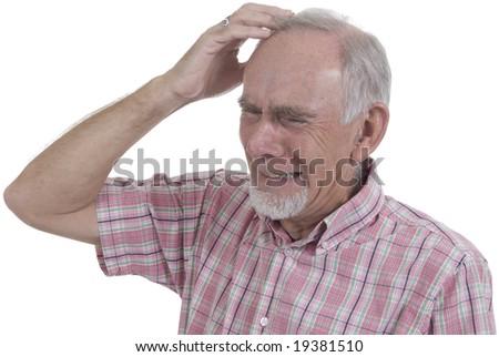 Senior man gritting his teeth in desperation. Mental breakdown. - stock photo