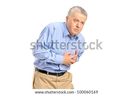 Senior man having a heart attack isolated on white background - stock photo
