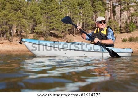 Senior Man Kayaking