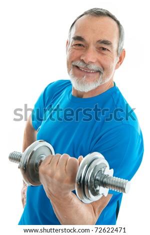 senior man lifting weights during gym workout - stock photo