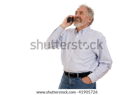 Senior man on phone set against a white background.