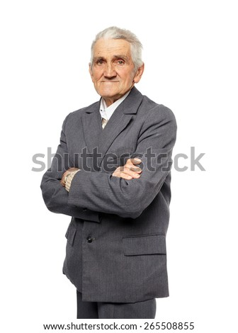 Senior man portrait with crossed arms isolated on white background - stock photo