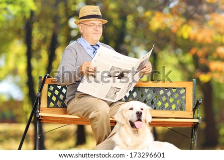 Senior man seated on a bench reading a newspaper with his dog, in a park - stock photo