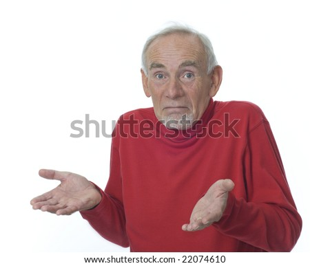 Senior man shrugging shoulders and raising hands with open palms - stock photo
