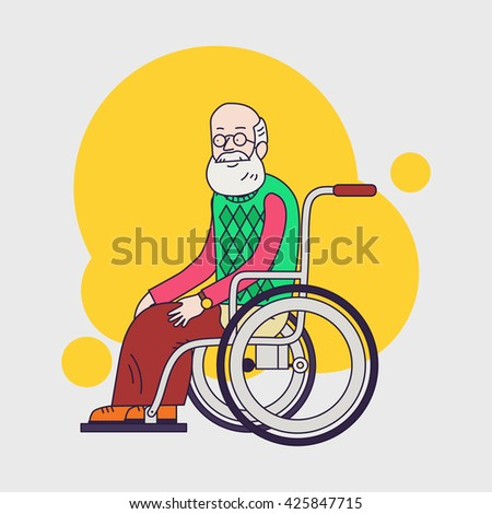 senior man sit in wheelchair. Elderly man with beard and glasses. Linear flat design. Caring for seniors. help for moving. - stock photo