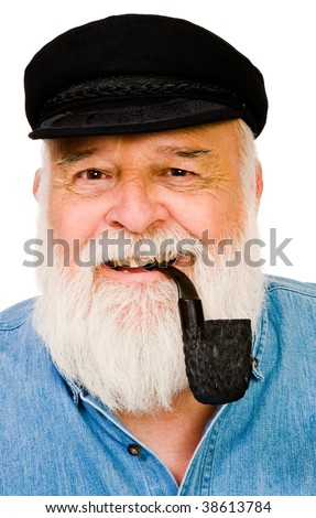 Senior man smoking with pipe isolated over white - stock photo