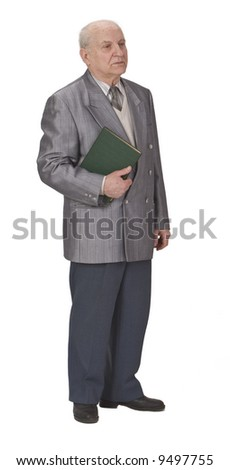 Senior man standing up an holding a book. - stock photo