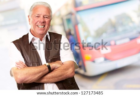 Senior Man Standing With Arms Crossed, Outdoor - stock photo