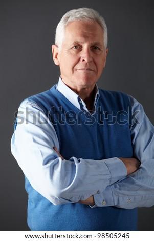 Senior man studio portrait - stock photo