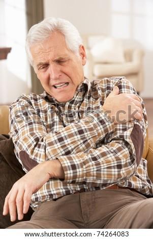 Senior Man Suffering Cardiac Arrest At Home - stock photo