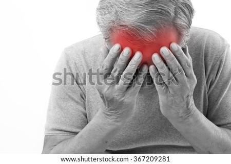 senior man suffering from headache, stress, migraine - stock photo