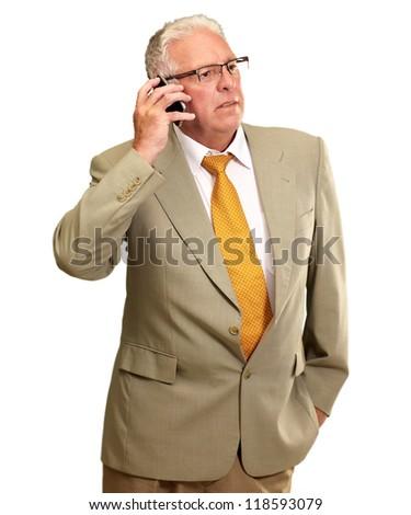 Senior Man Talking On Phone On White Background - stock photo