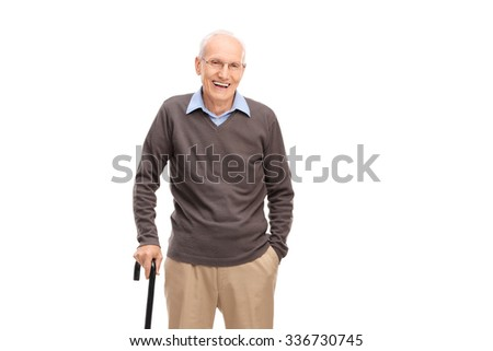 Senior man with a cane smiling and posing isolated on white background - stock photo