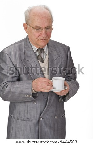 Senior man with a cup of tea. - stock photo