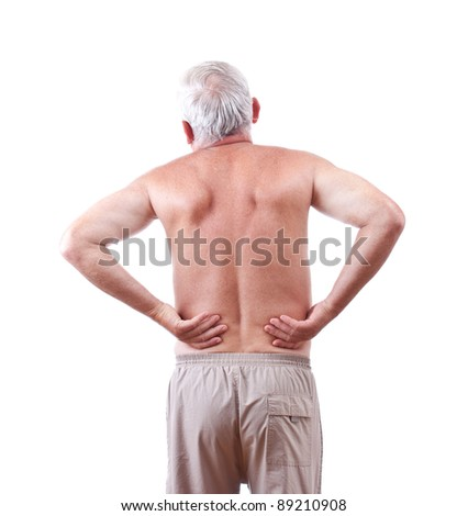 Senior man with back pain, isolated in white - stock photo