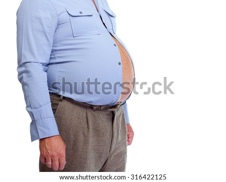 Senior man with big fat stomach. Obesity concept. - stock photo