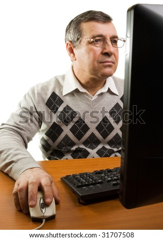 Senior man with computer (isolated on white) - stock photo
