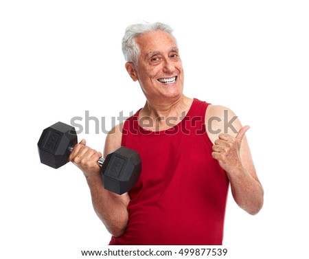 Senior man with dumbbell.